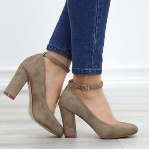 Taupe Ankle Strap Vintage Style Block Heels